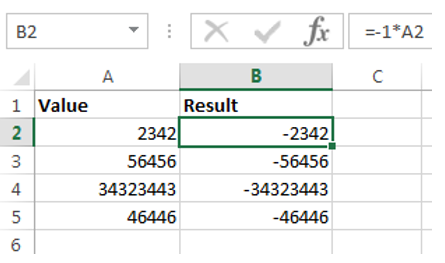 Insert Minus Sign In Excel